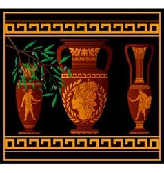 ancient amphora and jugs vector image