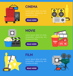 cartoon cinema banner horizontal set vector image