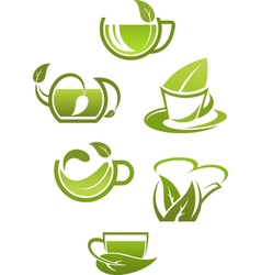 Herbal tea cups with green leaves vector image