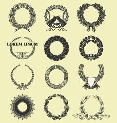 laurel and wreath set elements vector image vector image