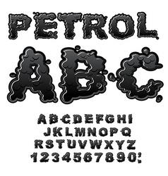Petrol ABC Oil font Black letters Liquid lettring vector image vector image