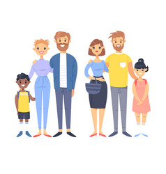 set of young couples with adopted kids hand drawn vector image