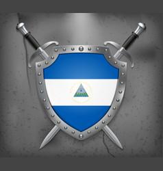 Flag of nicaragua medieval background vector