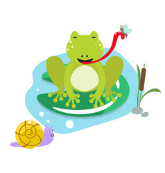 frog eating moth on pond cartoon clipart vector image