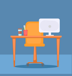 Office with table computer and office stuff vector