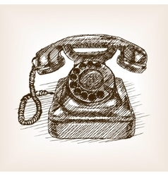 Old phone hand drawn sketch style vector image