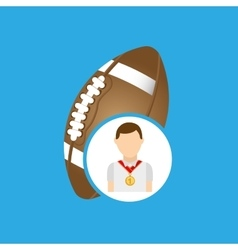 athlete medal football icon graphic vector image