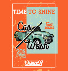 color vintage car wash banner vector image
