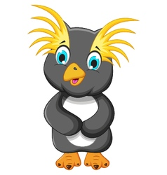 cute king penguin cartoon posing vector image vector image