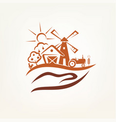 agriculture and farm stylized symbol vector image vector image