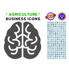 brain icon with agriculture set vector image