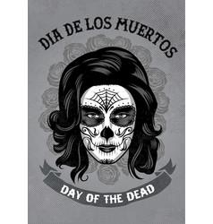 dia de los muertos poster in rusty texture vector image vector image