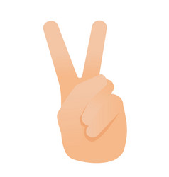 human hand showing the sign of victory and peace vector image