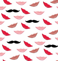 Lips and mustache pattern vector image vector image
