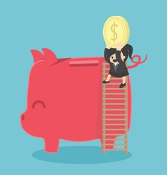 young business woman saving her money by putting vector image