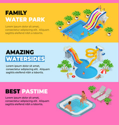 Aquapark horizontal web banners with different vector
