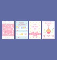baby shower party cards birthday invitation vector image
