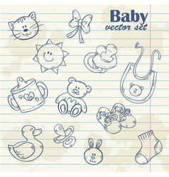 Baby toys cute cartoon set on notepaper vector