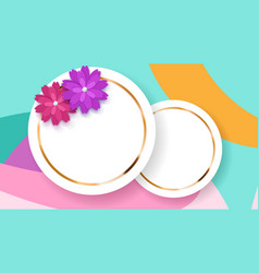 background with circle frames and flowers vector image