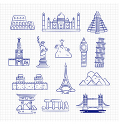 Ballpoint drawing international country linear vector