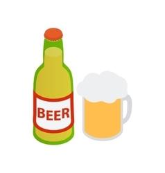 bottle beer and a full beer mug vector image