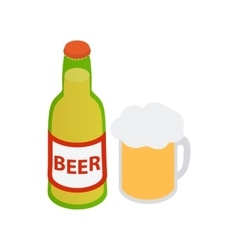 Bottle of beer and a full beer mug vector image