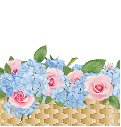 Bouquet of roses and phloxes in a basket summer vector