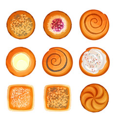 Bread rolls round loaves set with sesame sugar vector
