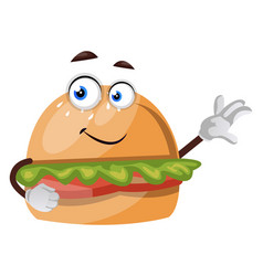Burger showing with hand on white background vector