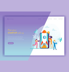 business startup landing page template mobile vector image