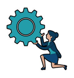 businesswoman with gear avatar character vector image