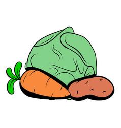 cabbage carrot potatoe icon cartoon vector image