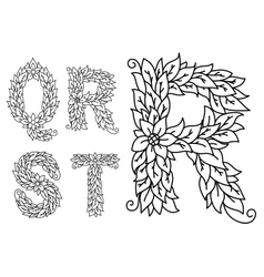 Capital letters Q R S T with floral elements vector image