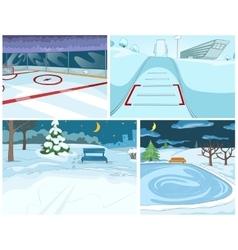 Cartoon set of winter backgrounds vector