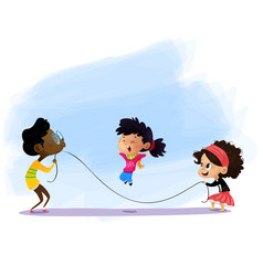 children playing jumping rope vector image