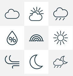 Climate outlines set collection of breeze vector
