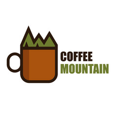 coffee mountain logo vector image