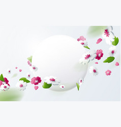 colorful flower with round banner vector image