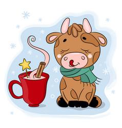 cute cartoon bull with cup chocolate animal vector image