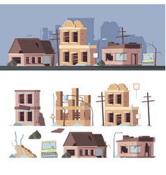 damaged buildings bad old trouble houses vector image