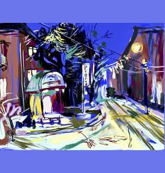 Digital sketch drawing winter evening landscape vector