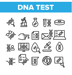 Dna test collection elements icons set vector