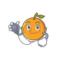 doctor orange fruit cartoon character vector image