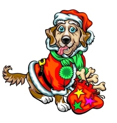 Dog with Christmas gifts Santa Claus vector