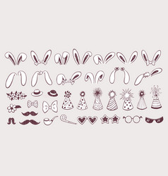 easter bunny ears collection vector image