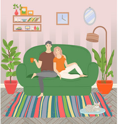 family leisure sweet home couple on sofa vector image