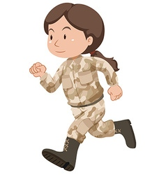 Female soldier in brown uniform vector image vector image
