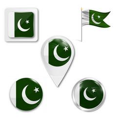 Flag button series - pakistan vector