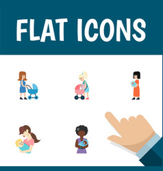 Flat icon mam set of mother child perambulator vector