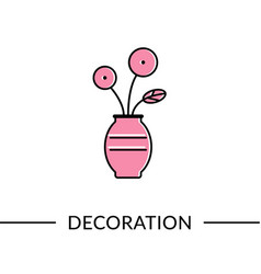 flower in vase decoration furniture line icon vector image